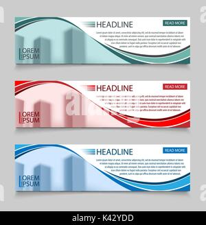 Website horizontal business banners vector template. Abstract banner design business concept design with healine - Stock Photo