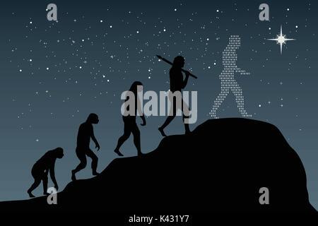 Human evolution into the present digital world. Business risk concept! - Stock Photo