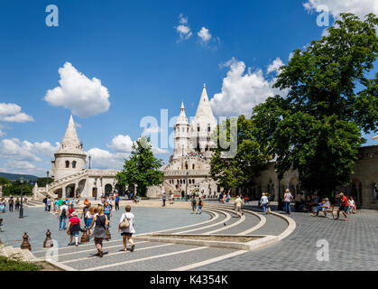 The iconic Fisherman's Bastion, Castle District, Buda, Budapest, capital city of Hungary, central Europe - Stock Photo