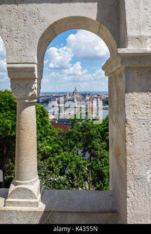 View of the Hungarian Parliament Building in Pest from the Fisherman's Bastion, Castle District, Buda, Budapest, - Stock Photo