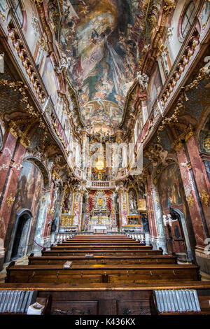 Interior view of Asamkirche or Asam church, Munich, Bavaria, Germany - Stock Photo