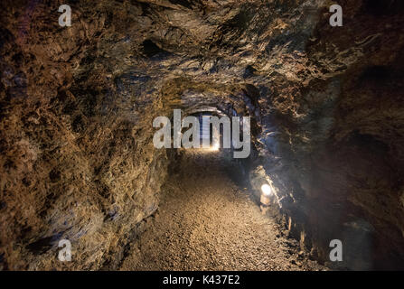 Tunnel interior in the famous mines of la Union in Murcia, Spain. - Stock Photo