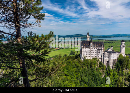 Neuschwanstein Castle or Schloss Neuschwanstein, Schwangau, Bavaria, Germany - Stock Photo