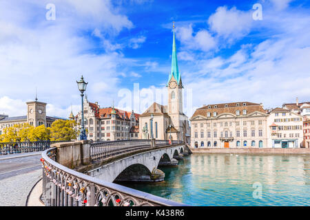 Zurich, Switzerland. View of the historic city center with famous Fraumunster Church, on the Limmat river. - Stock Photo