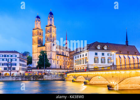 Zurich, Switzerland. View of the historic city center with famous Grossmunster Church, on the Limmat river. - Stock Photo