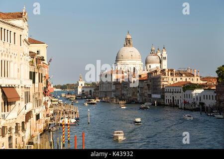 Italy, Venice, view from the Ponte Dell'Accademia down the Grand Canal towards the Basilica di Santa Maria della - Stock Photo