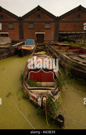 Boat Museum, Ellesmere Port, Canal Boats, History, The Wirral, Narrow Boats, British Heritage, Barges, Merseyside, - Stock Photo