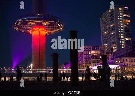 Night view of the British Airways i360 it is the worlds tallest moving observation tower on the seafront in Brighton - Stock Photo