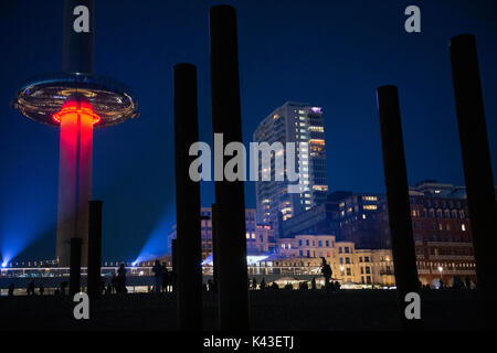 Night view of the British Airways i360 it is the worlds tallest moving observation tower on the seafront in Brighton. - Stock Photo