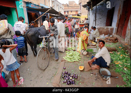 Vendor at market stall with vegetables, Bharatpur, Rajasthan, India | Marktstand mit Gemuese, Bharatpur, Rajasthan, - Stock Photo
