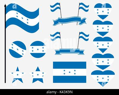 Honduran flag set symbols, flag in heart. Vector illustration - Stock Photo