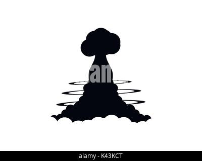 Nuclear explosion contour on a white background. Poster vector illustration - Stock Photo