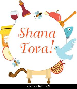 Set icons on the Jewish New Year, Rosh Hashanah, Shana Tova. frame for text. Greeting card. Vector illustration. - Stock Photo