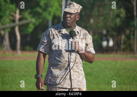 U.S. Marine Corps Sergeant Major Ronald Green speaks to U.S. soldiers at the Robertson Barracks August 8, 2017 in - Stock Photo