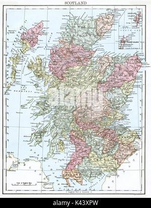 Antique map, circa 1875, of Scotland - Stock Photo