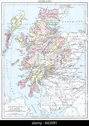 Antique map, circa 1875, of Scotland (16thCentury) - Stock Photo