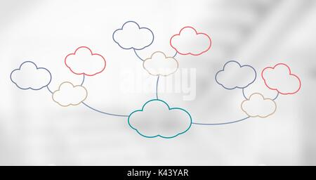 Digital composite of Colorful mind map clouds over bright background - Stock Photo