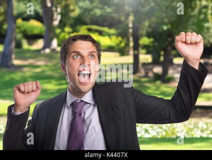Digital composite of Businessman celebrating success in nature - Stock Photo