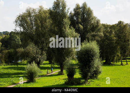 Cyclists on the floodplains of the river Ruhr in Mülheim an der Ruhr, Germany - Stock Photo
