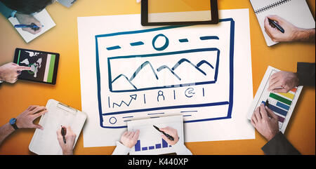 Business meeting against handdrawn illustrate website - Stock Photo