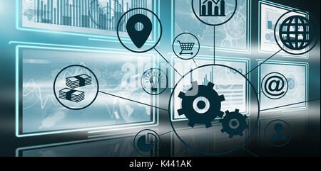 Composite image of gears amidst various icons against vector image of business growth charts in 3d - Stock Photo