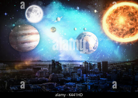 Composite image of solar system against white background against city in 3d - Stock Photo