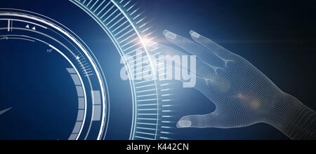 3d illustration of human hand  against blue dial interface