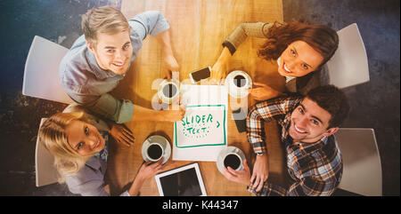 Slider Text hand drawing Icon against smiling friends sitting and drinking coffee - Stock Photo