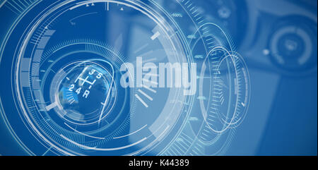 Interface dial with blue background against close-up of gear in car - Stock Photo