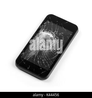 smart phone with broken screen isolated on white - Stock Photo