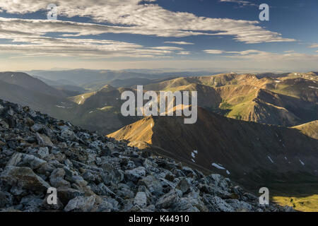 The view South from the summit of Grays Peak, Colorado. - Stock Photo