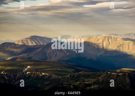 The view from the summit of Grays Peak.  Silver Plume, Colorado. - Stock Photo