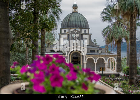 Temple of beatitudes with flowers - Stock Photo