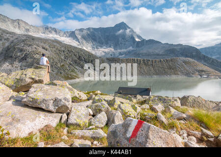 Hicker admire the Adamello Mount and Garibaldi refuge. Temù, Val d'Avio (Adamello Park), Brescia province, Lombardy, - Stock Photo