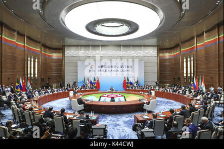Xiamen, China's Fujian Province. 4th Sep, 2017. Chinese President Xi Jinping presides over the ninth BRICS summit - Stock Photo