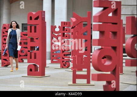 London, UK.  4 September 2017.   104 three dimensional names have been installed in Paternoster Square near St. - Stock Photo