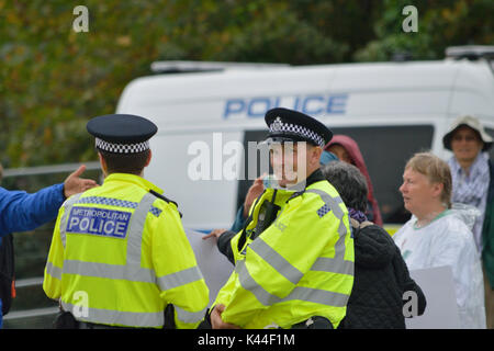 London, UK, 4th September 2017 Protestors outside the Defence and Security Equipment International (DSEI)  2017 - Stock Photo