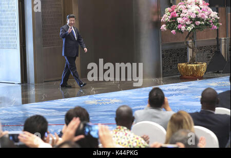 Xiamen, China's Fujian Province. 5th Sep, 2017. Chinese President Xi Jinping meets the press at the end of the ninth - Stock Photo
