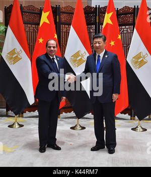 September 5, 2017 - Xiamen, Fujian, China - Egyptian President Abdel-Fattah al-Sisi meets with Chinese President - Stock Photo