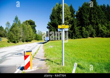 The border between Austria and Czechoslovakia - Stock Photo