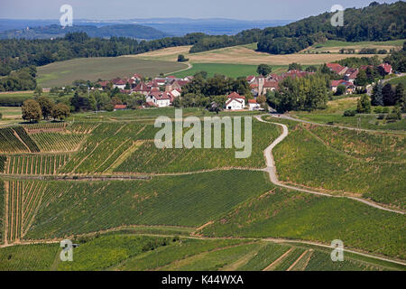 Bird's eye view over the village Château-Chalon and vineyards famous for their white wine, Jura department, Franche - Stock Photo
