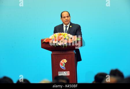 Xiamen, China - 4 September 2017 - Egyptian President Sisi addresses the Brics Summit.  The ninth edition of the - Stock Photo