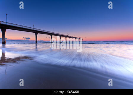 Long Exposure wave New Brighton Beach View in Christchurch, South Island, New Zealand. - Stock Photo