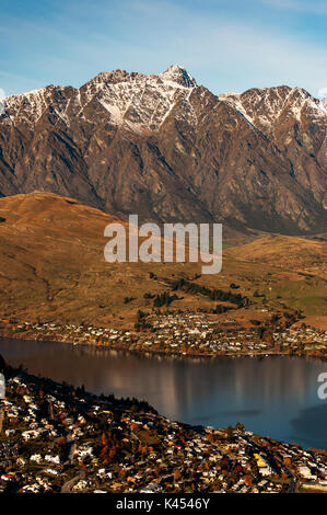 Beautiful view of Mount Remarkables in Queenstown, South Island, New Zealand. - Stock Photo