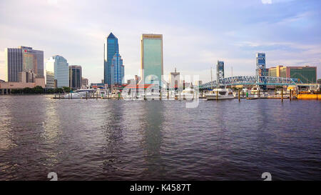 Jacksonville, Florida city skyline over the St. John's River - Stock Photo