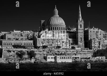 Scenic summer view of Valletta, capital of Malta, across from Sliema, looking over Marsamxett Harbour - Stock Photo