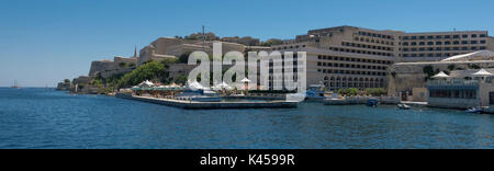 Scenic view of Five-Star Grand Hotel Excelsior, Floriana, Malta looking from Marsamxett harbour - Stock Photo