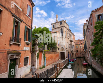 Canal and palace in Cannaregio, Venice, Italy - Stock Photo
