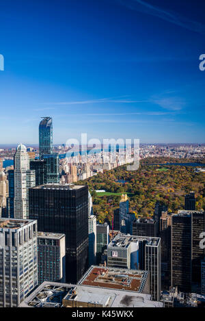 USA, New York, New York City, Mid-Town Manhattan, elevated view of Central Park, morning - Stock Photo
