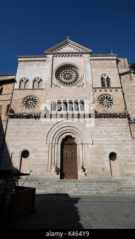 The Foligno Cathedral (or Cathedral of San Feliciano,12th century), in Piazza della Repubblica,Foligno, Umbria, - Stock Photo